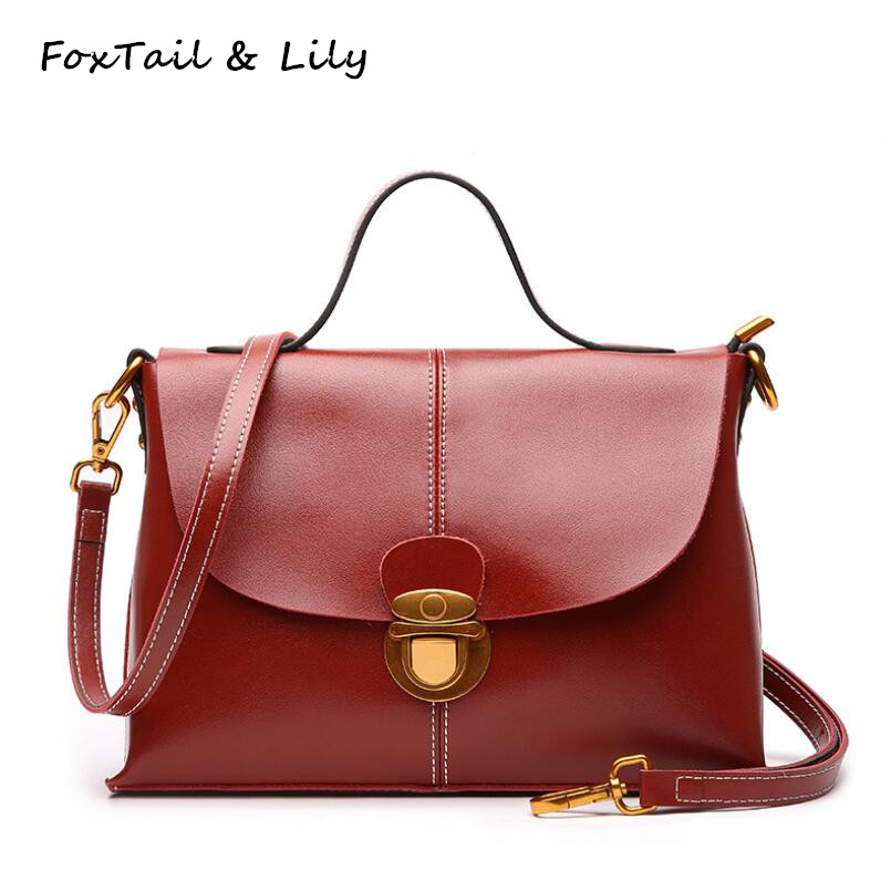 FoxTail & Lily Brand Ladies Handbags Genuine Leather Crossbody Messenger Bags for Women Designer Tote Shoulder Bag Two Straps