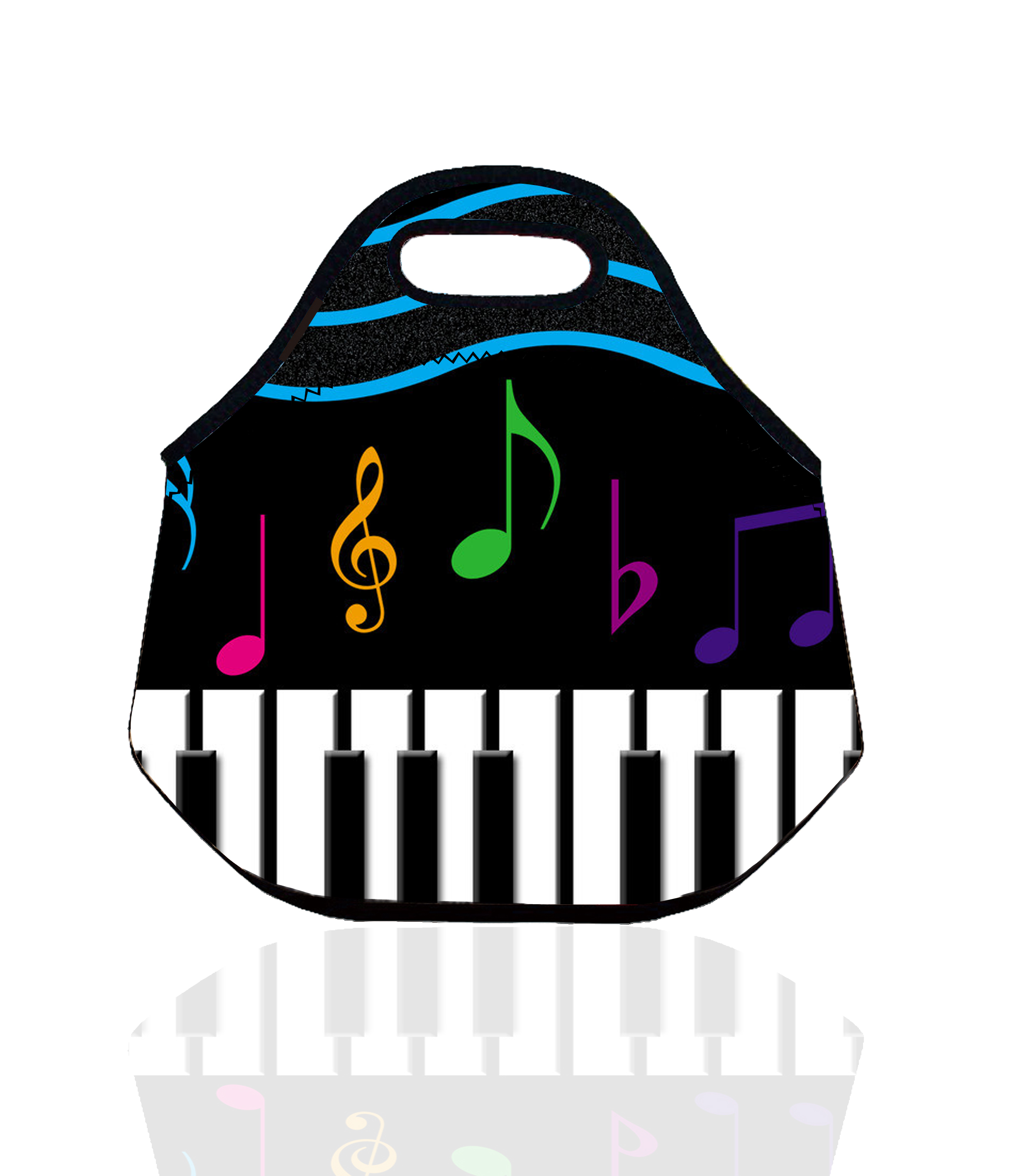 Piano Style Insulated Lunch Bag for Women and Kids,Neoprene Thermal Picnic Lunch Box Bag Container For Students Back To School