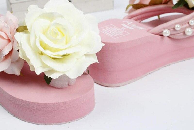 496f7344b Plusunion pink lady summer flower cunha slides sandálias sapatos ...