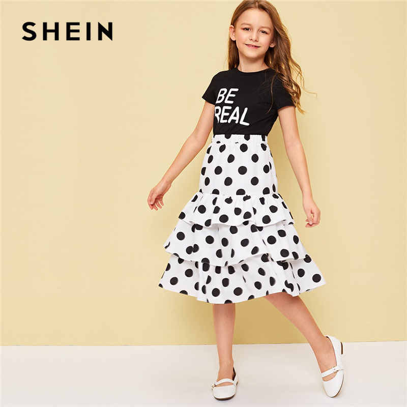 SHEIN Kiddie Black Letter Print Tee And Layered Ruffle Hem Polka Dot Skirt Sets 2019 Summer Holiday Short Sleeve Boho Girls Sets camo print dip hem top