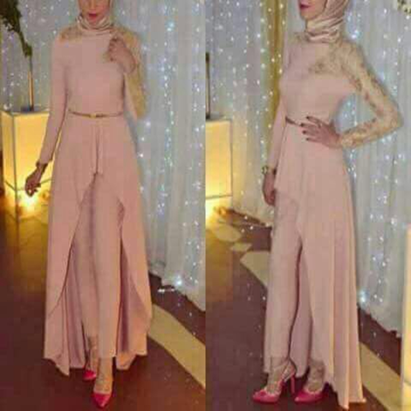 New Arrival Pink Muslim   evening     dress   2019 Lace with Beading Long sleeve   evening     dresses   Pants Formal   dress