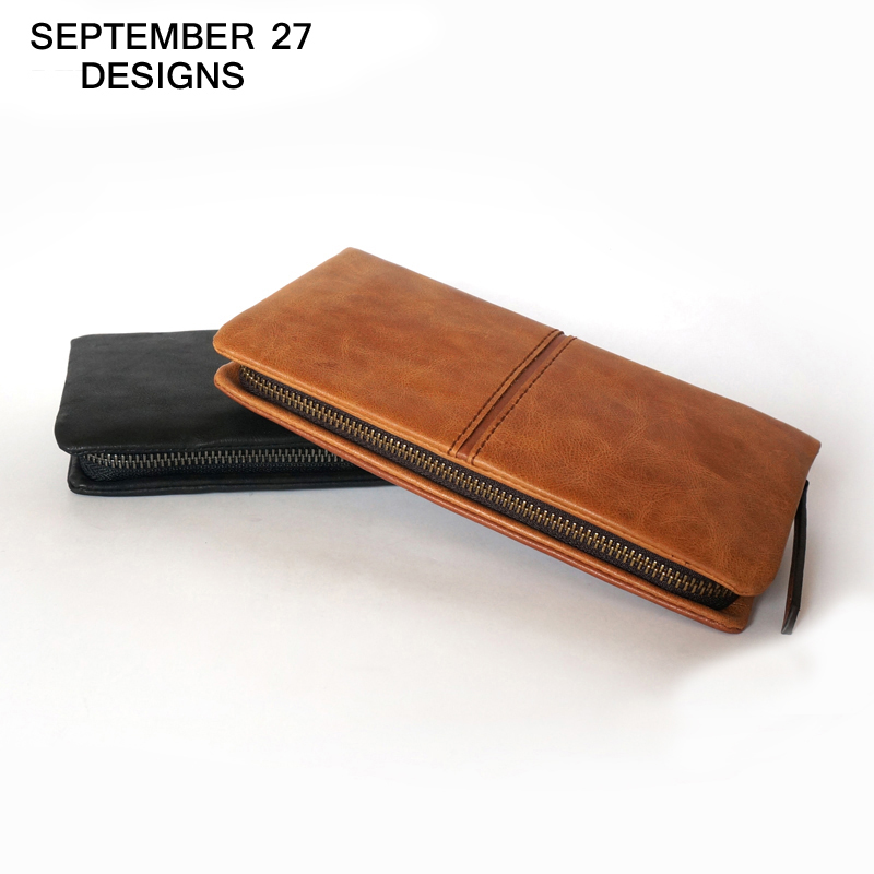 Top Brand Genuine Leather Wallets For Men Women Large Capacity Zipper Clutch Purses Cell Phone Passport Card Holders Notecase