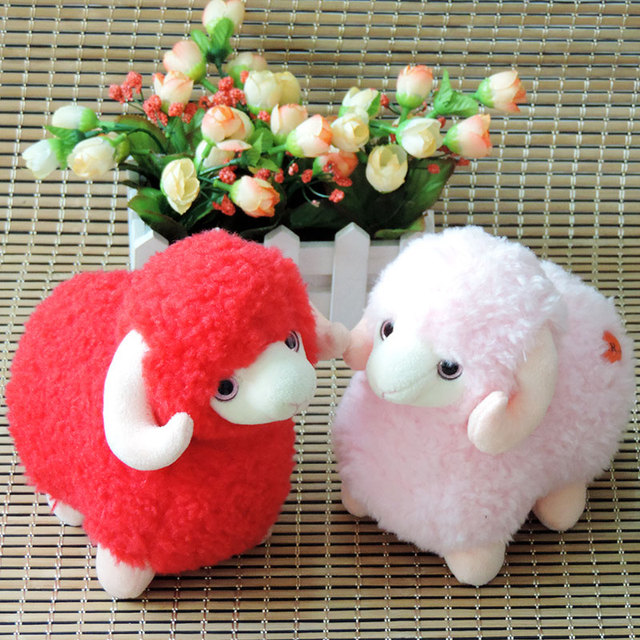 18cm Small Kawaii Lamb Plush Toys Stuffed Animals Sheep Red Pink