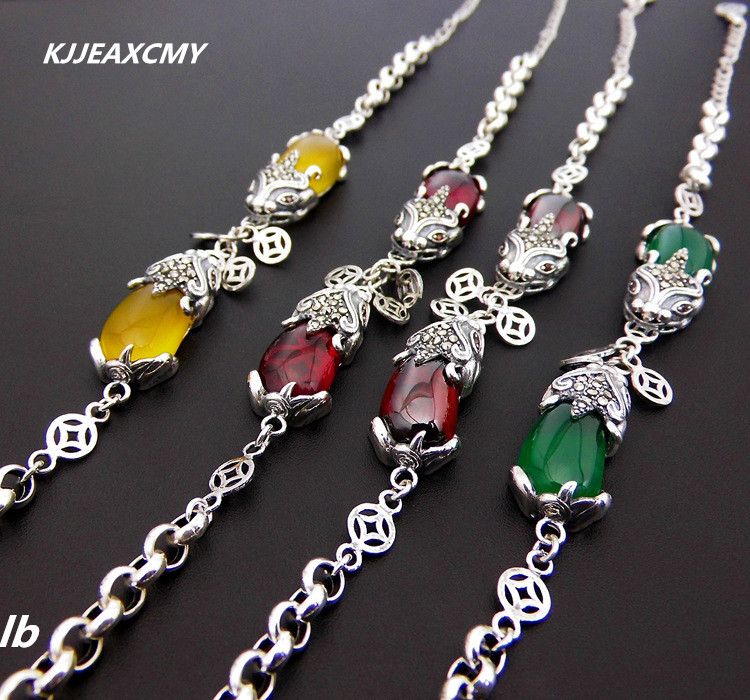 KJJEAXCMY Fine jewelry 925 Thai silver onyx agate green agate garnet red corundum bracelet Lucky kjjeaxcmy fine jewelry 925 sterling silver ring pendant garnet red corundum jewelry ladies suits