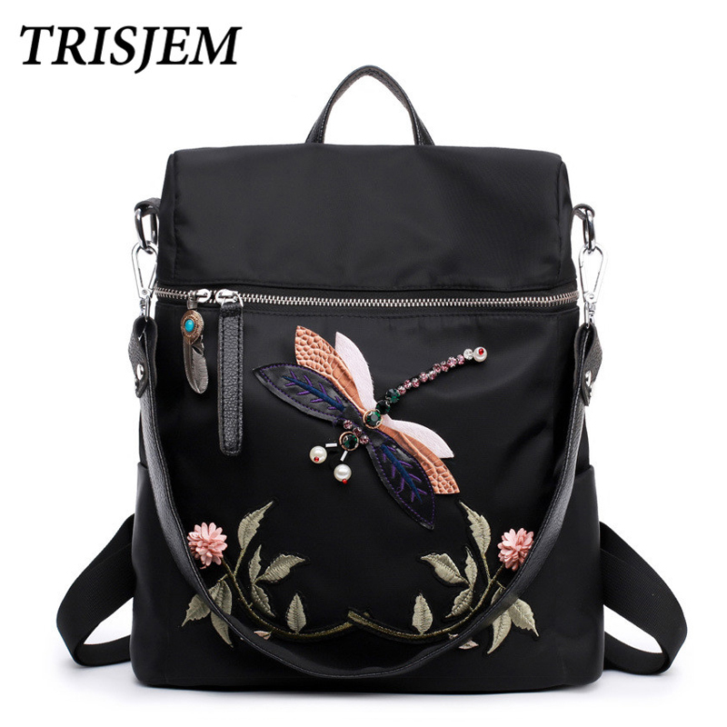 Fashion Backpack Women Nylon School Bags for Teenage Girls Dragonfly Embroidery Practical Functional Travel Female Backpack miyahouse fashion backpack women nylon school bags for teenage girls dragonfly embroidery travel backpack female shoulder bag