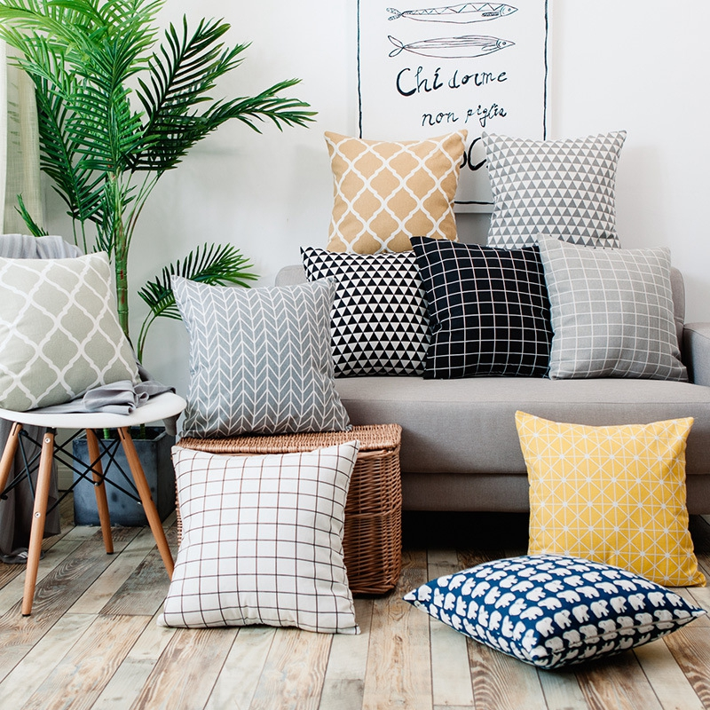 Aliexpress Com Buy Nordic Style Striped Printed Cushion