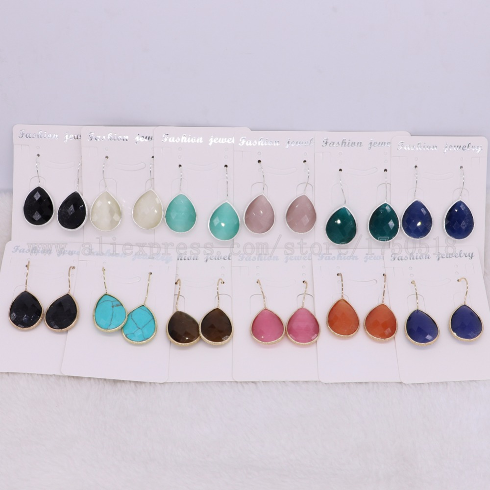 10 Pairs Fashion Faceted Round Opal stone Hook dangle earrings High quality drop earrings earrings Gems