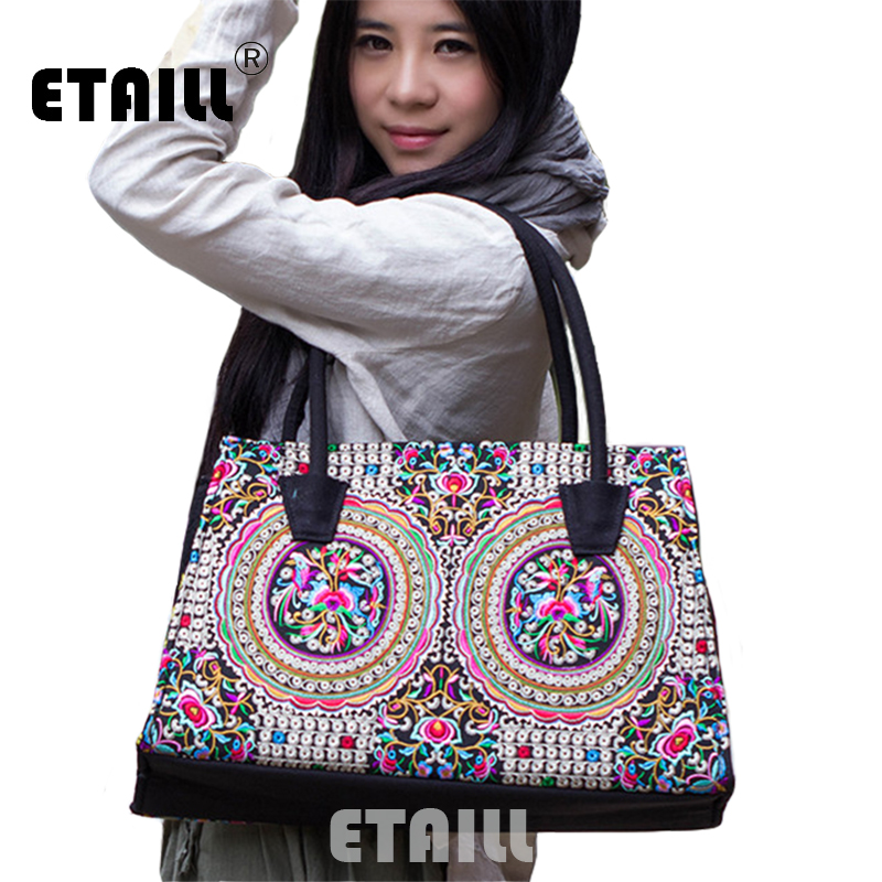 2016 Chinese National Embroidery Bags Boho Casual Embroidered Travel Shopper Shoulder Bags Handbags Luxury Brand Logo Bag Woman vintage embroidery women flats chinese floral canvas embroidered shoes national old beijing cloth single dance soft flats
