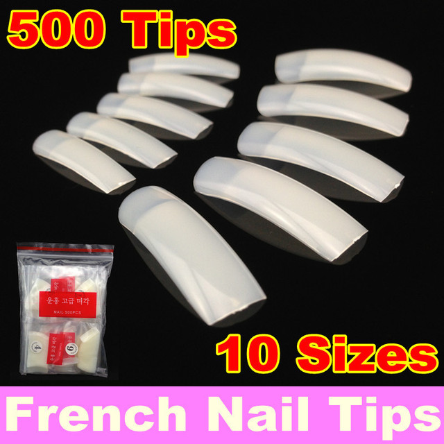 [ Retail ] 500Pcs/Pack  Natural French Nail Tips False Acrylic Nail Art Tips + Free Shipping