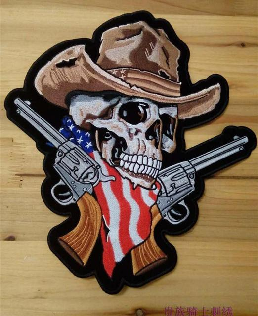 12.4   inches Embroidery twill Biker Patches Double Gun Skull Cowboy Hat  USA flags for Jacket Back Motorcycle cd5adc3e0be