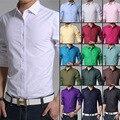 2017 мужская весна и осень бизнес рубашки моды конфеты цвет мужской случайный с длинными рукавами рубашки Мужские Сплошной цвет Рубашки 17 цвет
