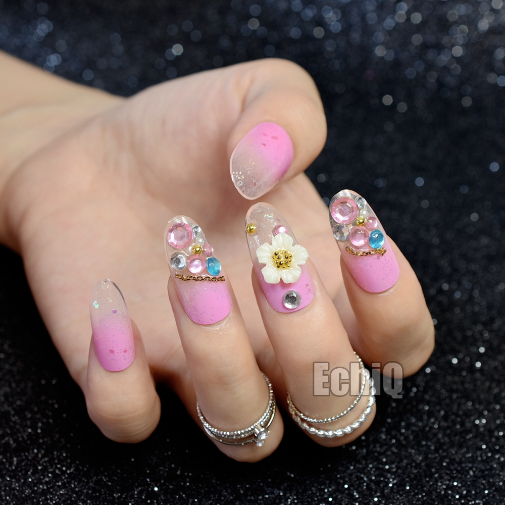 Long Size Oval Fake Nails 3D Decoration Flower Rhinestones Pink ...