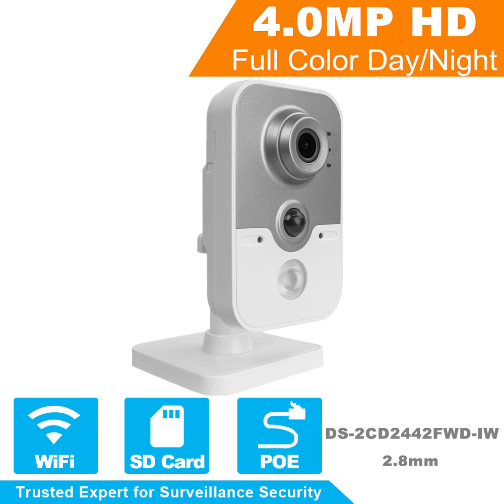 Hikvision Wireless Home Security IP Camera DS-2CD2442FWD-IW OEM 4MP IR Cube Network WiFi IP Camera Indoor Built-in Microphone