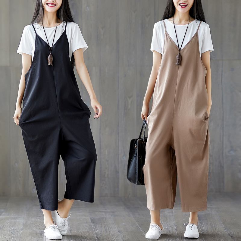 Rompers Womens Jumpsuit 2018 New Summer Women Sleeveless Suspenders V-neck Cotton and Linen Overalls Pockets Black,Khaki