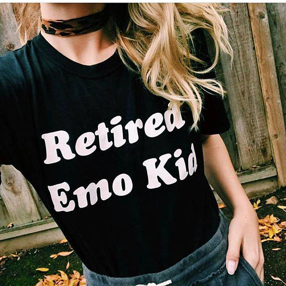 b627dbfa4 retired emo kid tumblr shirt hipster grunge instagram T-shirt aesthetic t  shirt Casual tops