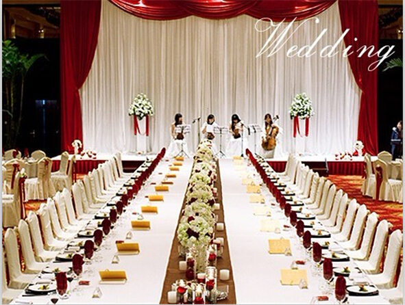 2014 NEW Elegant 3X6Meters White+ Burgundy Wedding Backdrop curtain ...
