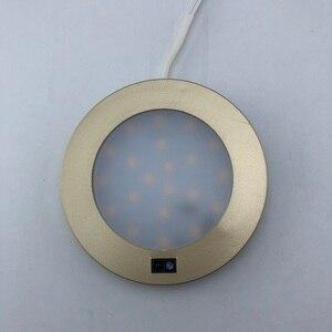 Image 1 - DC 12V szafka LED światło na czujnik ruchu oświetlenie w szafie szafka kuchnia lampka nocna okrągła półka oświetlenie licznik szafa