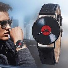 Кварцевые наручные часы унисекс Для женщин Для мужчин Пара часы моды Повседневное Дизайн аналоговый сплав ретро Творческий виниловых пластинок CD F306