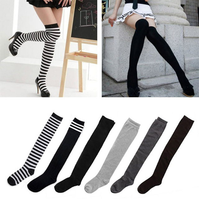 4a88e738af818 Women's Cotton Sexy Thigh High Over The Knee Socks Long Stockings For Ladies  JL