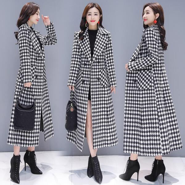 Winter Woolen Women's Windbreaker Plaid   Trench   Coat For Women Overcoat Office Lady Casaco Feminino Long Wind Coats Outwear