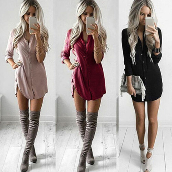 Meihuida Women arrival Shirt Dress Summer Casual Loose Long Sleeve Blouse Dress MIni Vacation Dresses Vestidos 1