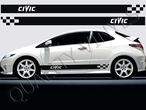 For 1set 2pcs Racing Stripes Honda Civic Side Graphic Decals