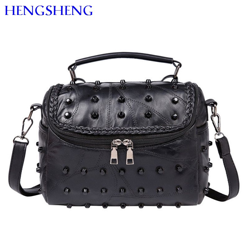 Hengsheng luxury rivet sheepskin women bags of fashion rivet women messengers bag for quality genuine leather women hand bags
