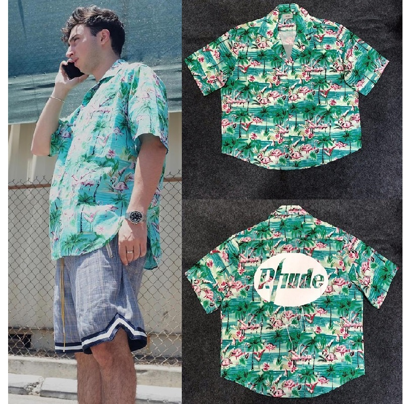 Rhude X Patron Shirt Men Flamingos Mint Green New York Limited Edition Flamingo Skateboard Short Sleeve Green Bird Rhude Shirt