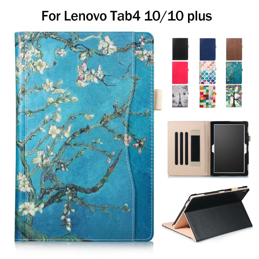 Tab4 10.0 plus X704F X704N PU Leather Case Cover Print 10'' Stand Skin for Lenovo TAB 4 10 TB-X304N TB-X304F Tablet Wallet Cases шапка ferz ferz fe913cwxzx68