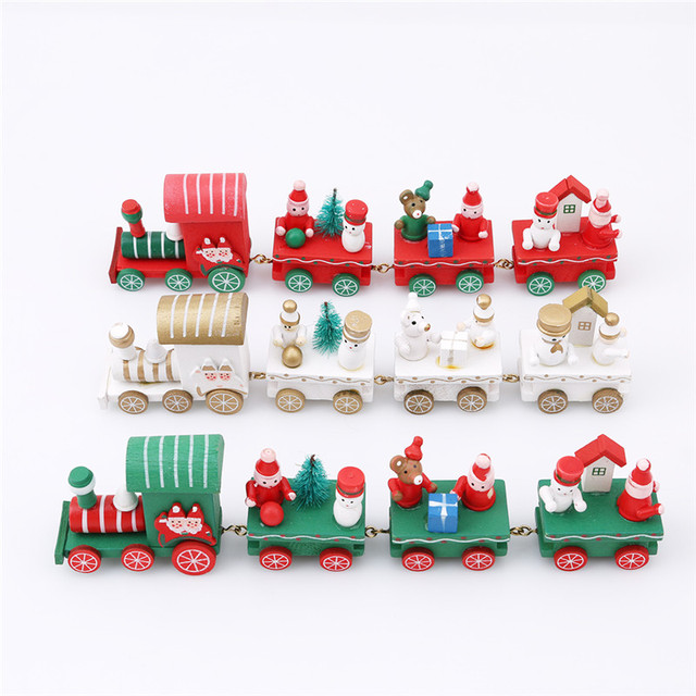 creative santa claus train gift decoration toy winter snow outdoor decor kids wooden christmas sled car