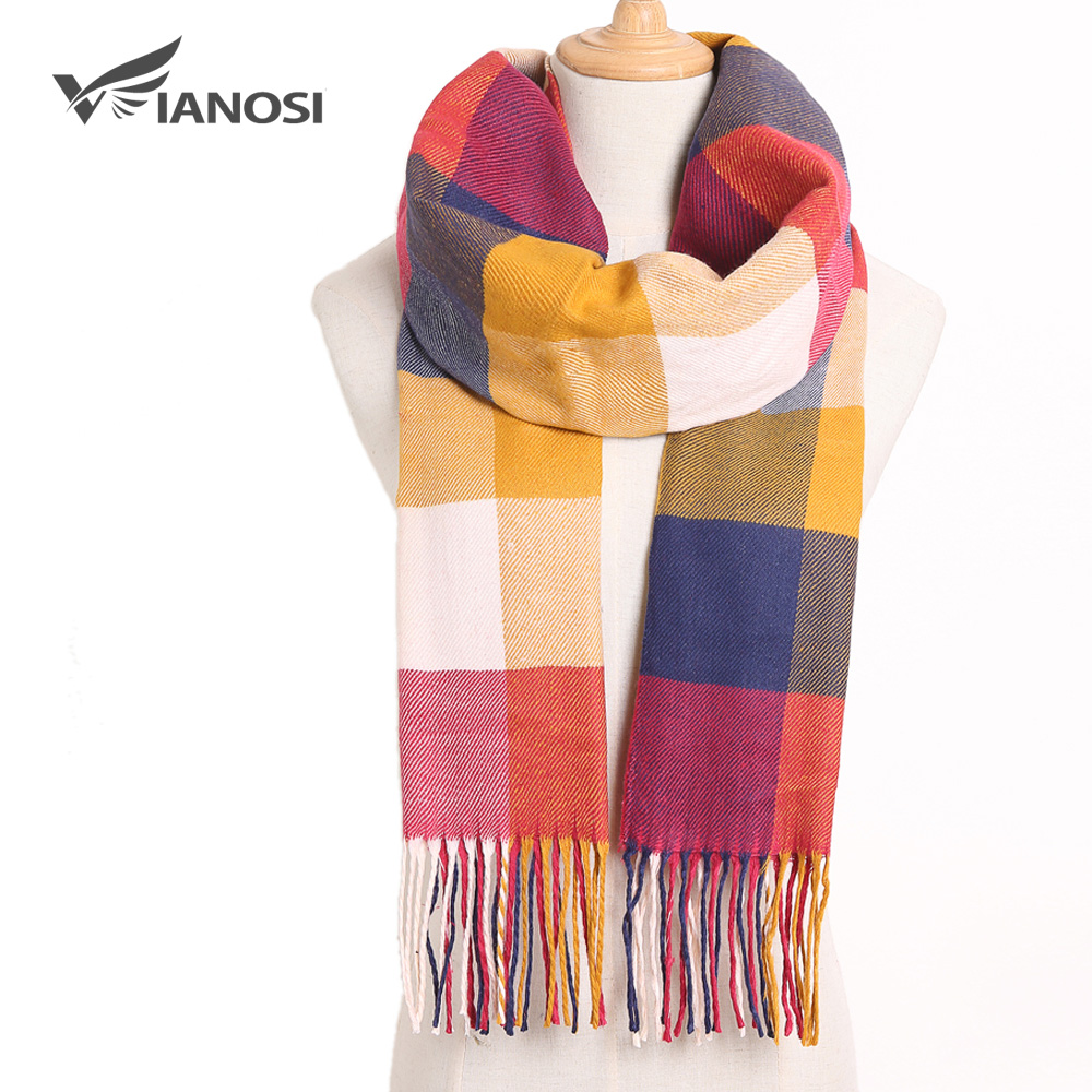 [VIANOSI] 2019 Winter Women Scarf Brand Foulard Plaid Scarves Fashion Casual Poncho Scarfs Luxury Bufandas