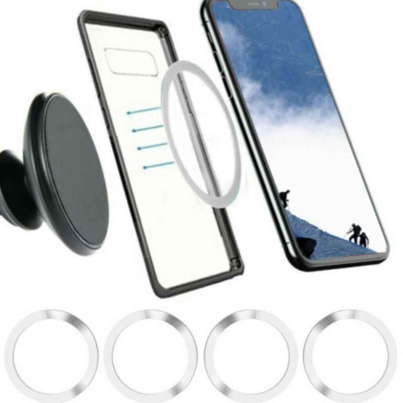 Newest 4PC Universal Round Metal Rings for Magnetic Qi Wireless Charger Air Vent Magnet Car Mount Holder For iPhone Smart Phones