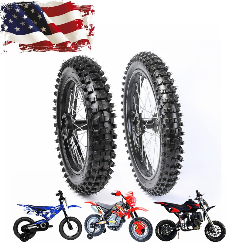 "RED 2.50-10/"" Inch Rear Back Wheel Rim Knobby Tyre Tire PIT Trail Dirt Bike"