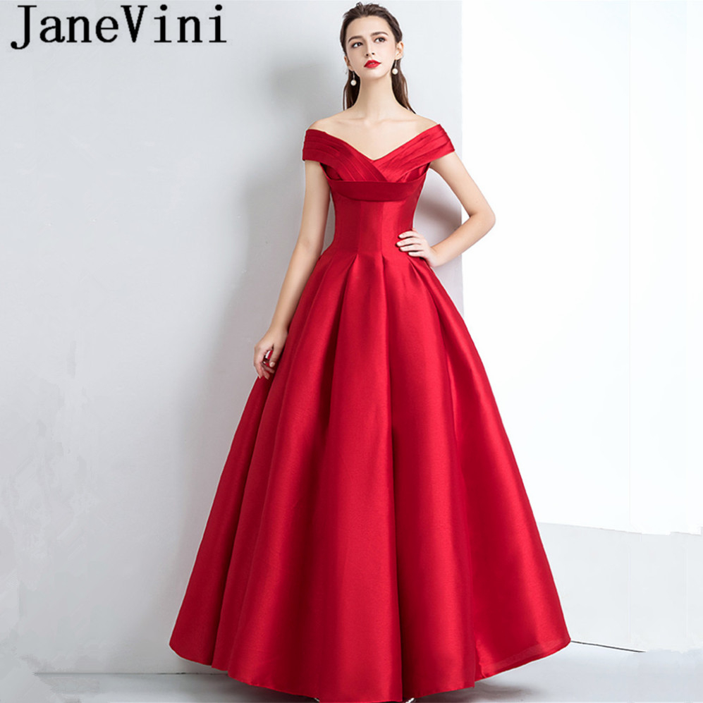 JaneVini Simple Burgundy Long   Bridesmaid     Dresses   A Line Pleats Off The Shoulder Sleeveless Satin Floor Length Robe Longue Rouge