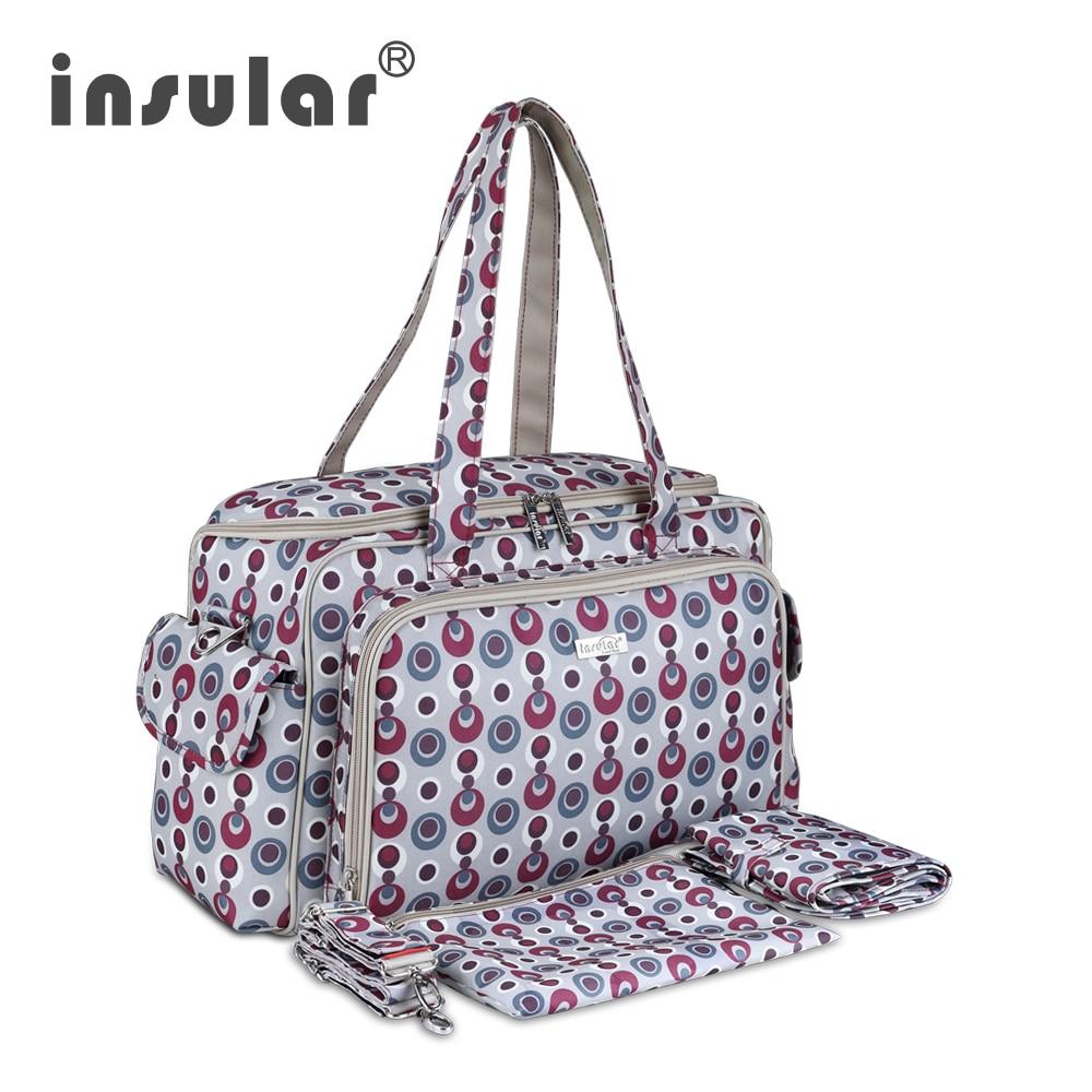 Insular márka baby babakocsi táska divat baba pelenka táska múmia messenger táska vízálló 600d nylon anyu cserélő táska