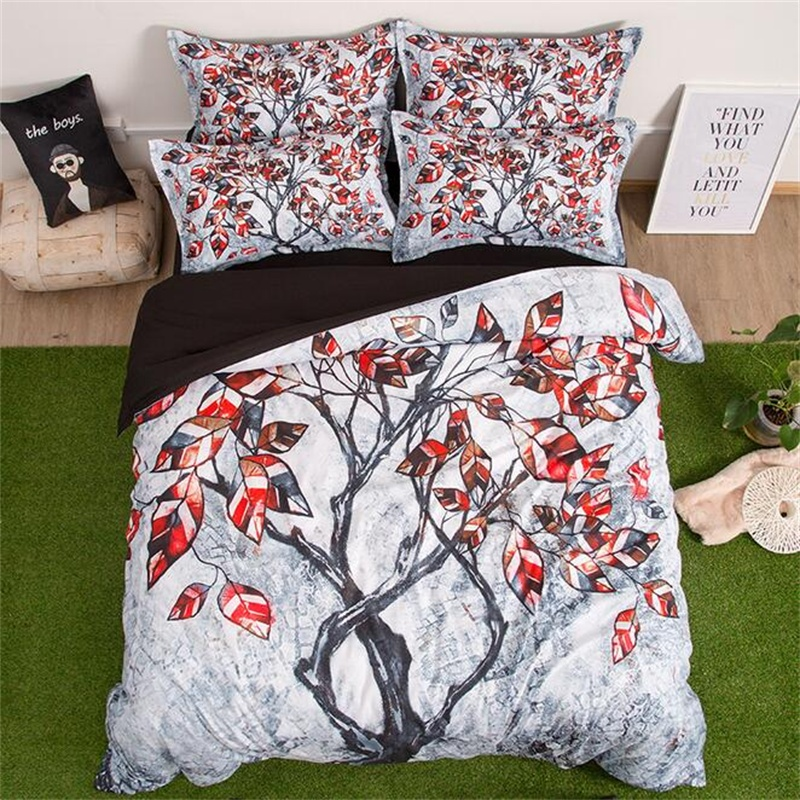 Tree Branch Painting Bedding Set Twin Queen King Size Home Decor Polyester Print Duvet Cover Bed Sheets PillowcaseTree Branch Painting Bedding Set Twin Queen King Size Home Decor Polyester Print Duvet Cover Bed Sheets Pillowcase