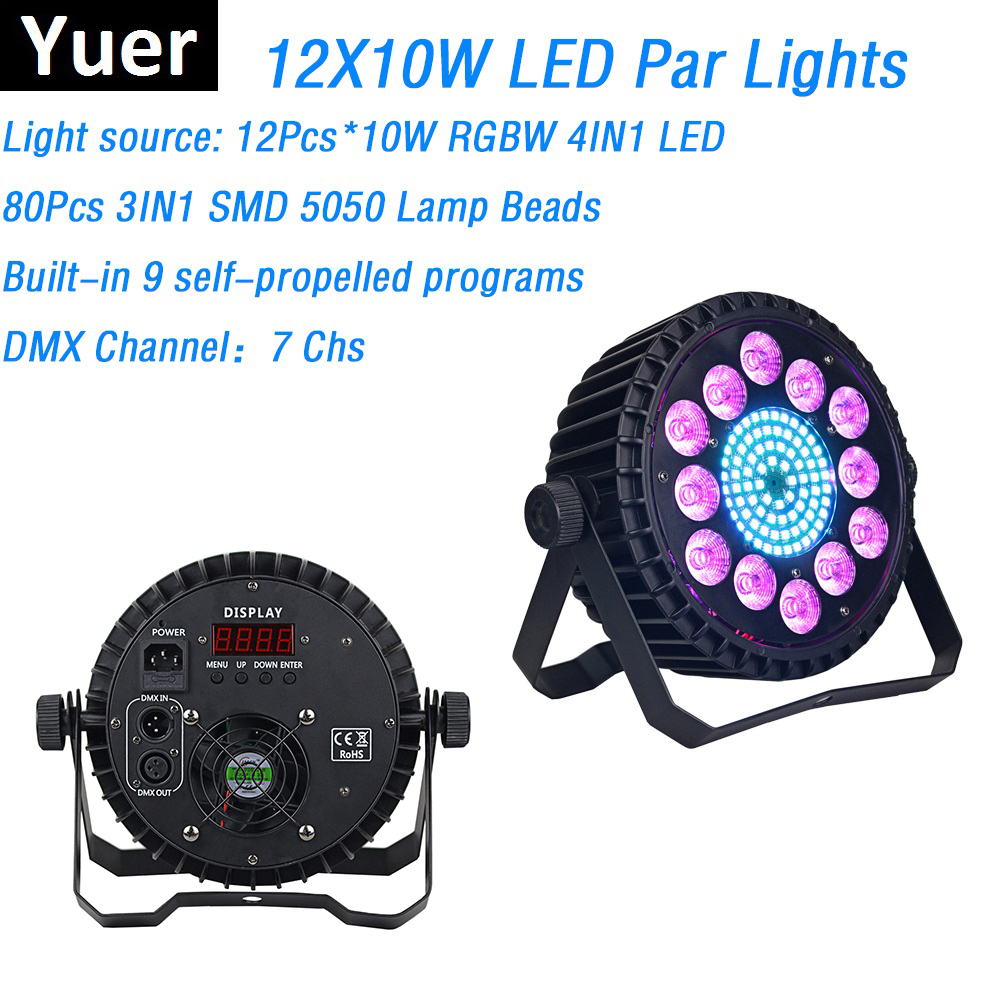 Aluminum Alloy LED Par 12X10W RGBW 4IN1 LED Flat Par Lights With 80Pcs RGB 3IN1 SMD Lamp Beads Good For Dj Disco Stage Lights