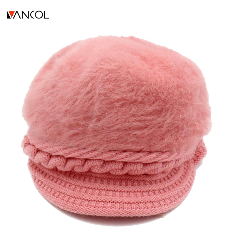 Vancol 2017 new arrival pink knitted ladies fashion winter cap female rabbit fur hat winter hat cap skullies beanies women skullies female rabbit ear hat hat women s hair cap fashion cap winter cap fpc012