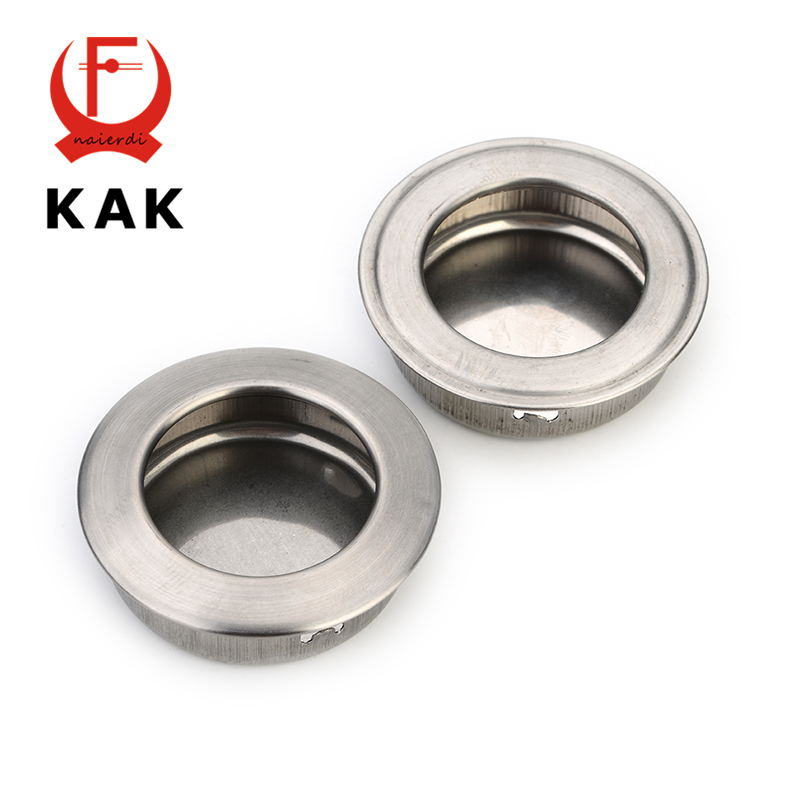 KAK Diameter 30mm Cabinet Hidden Handles Stainless Steel Invisible Handle Circle Drawer Wardrobe Knobs For Furniture Hardware