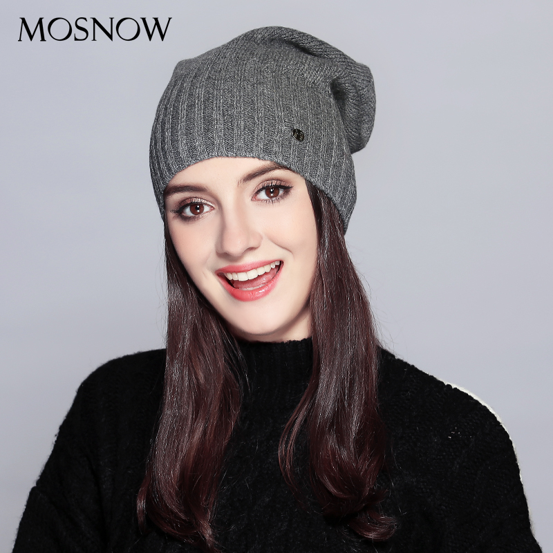 MOSNOW Hat Female Autumn Winter Fashion 2018 Brand New Classic Stripe Solid Knitted Warm Women's Hats   Skullies     Beanies   #MZ738