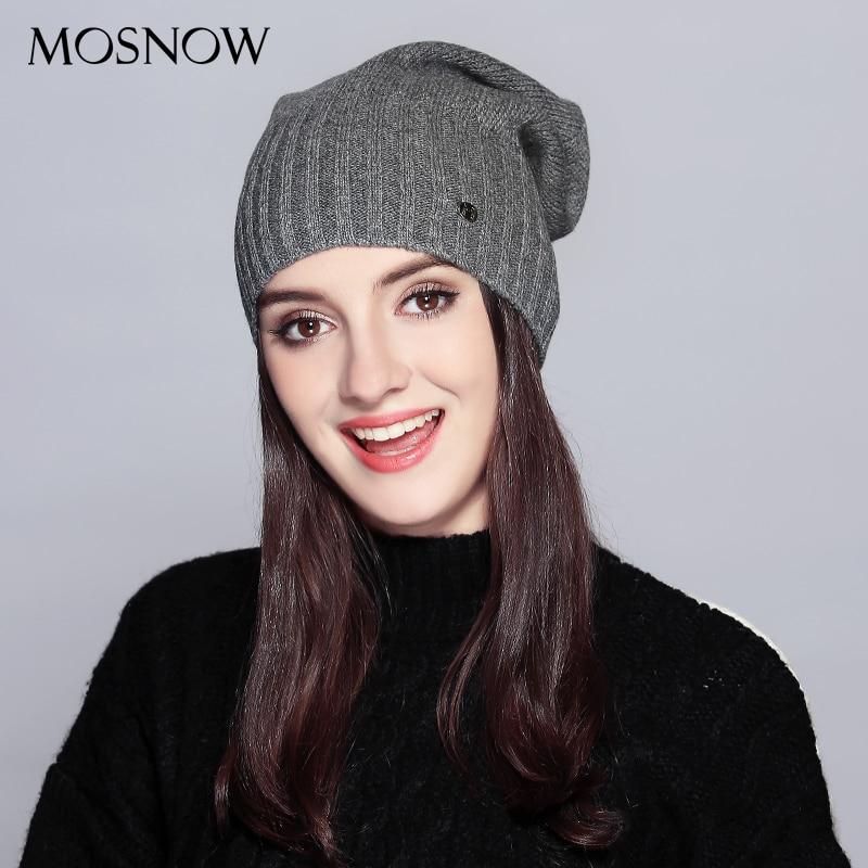 MOSNOW  Hat Female Autumn Winter Fashion 2018 Brand New Classic Stripe Solid Knitted Warm Women's Hats Skullies Beanies  #MZ738