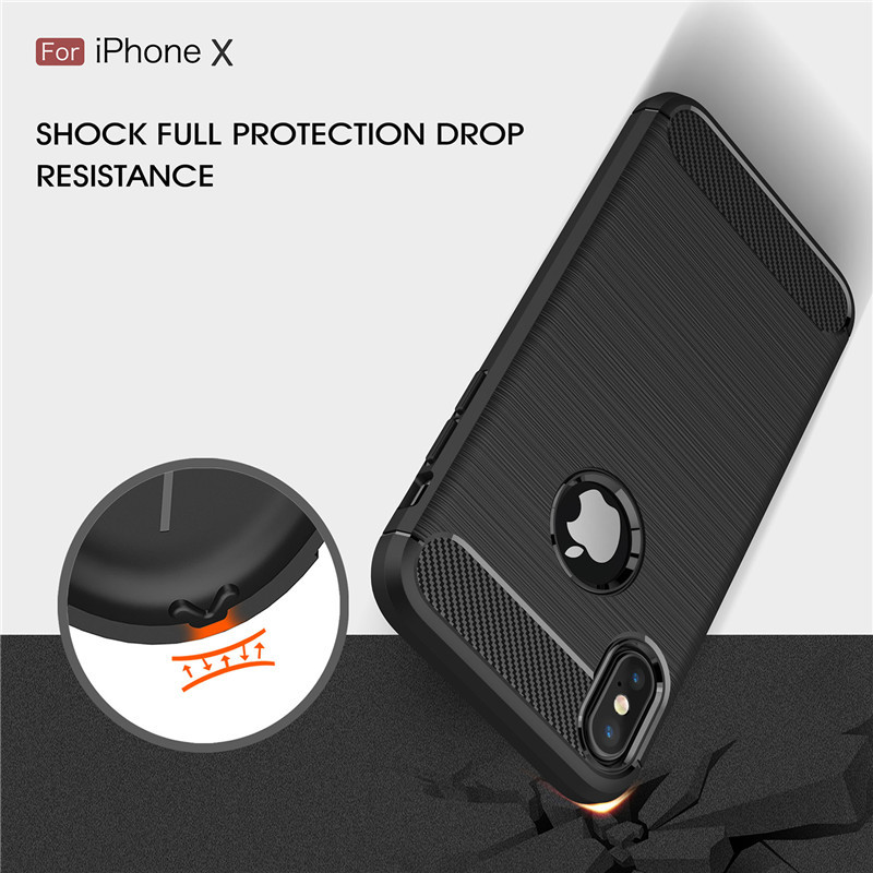 Case For Iphone X XS Max 7 8 Plus Silicon Carbon Fiber TPU Heavy Shockproof Soft Silicone Case For Iphone 6 6s XR 5 5s SE Cover spigen iphone 8 plus case