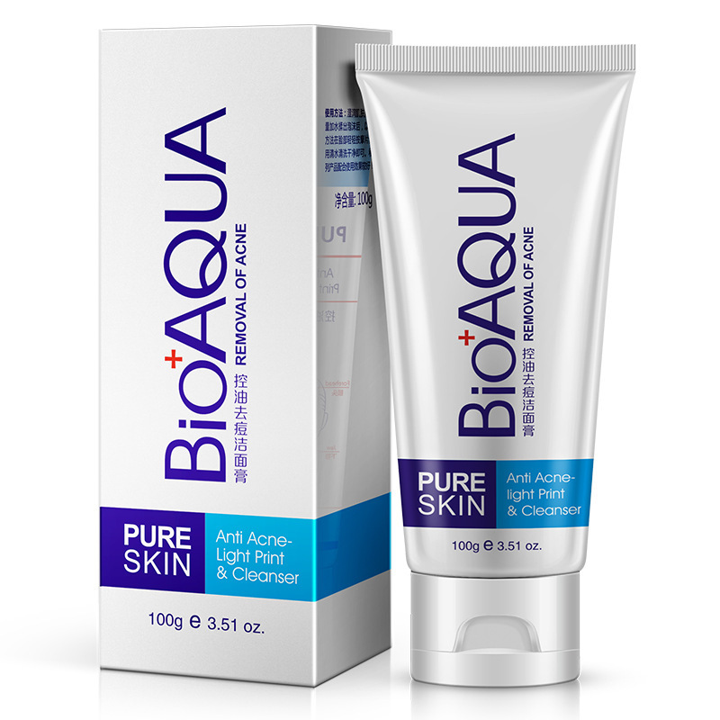 Bioaqua Facial Cleanser Black Head Acne Treatment Face Farewell Oil Skin Care Whitening Deeply Clean Beauty packaging and labeling