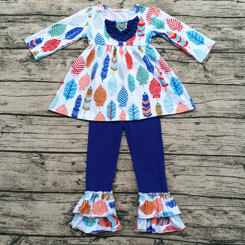 Wholesale Children S Boutique Clothing Feather Printing