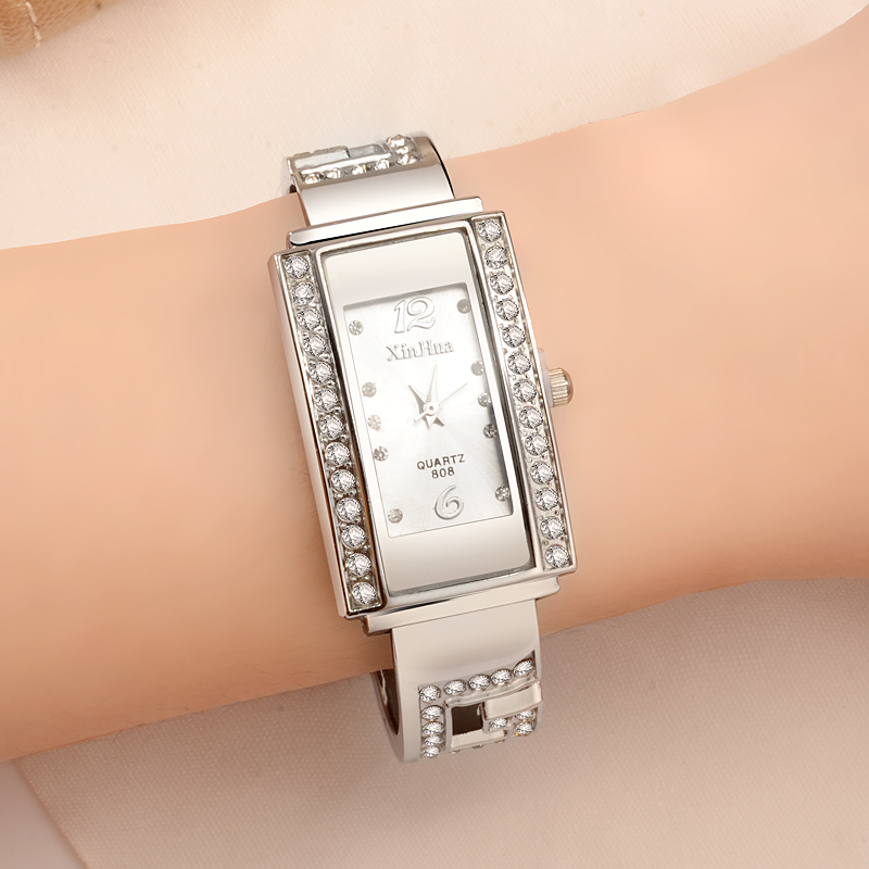 Fashion Silver Women's Watches Luxury Diamond Bracelet Watch Women Watches Rectangle Ladies Watch Clock Montre Femme Reloj Mujer