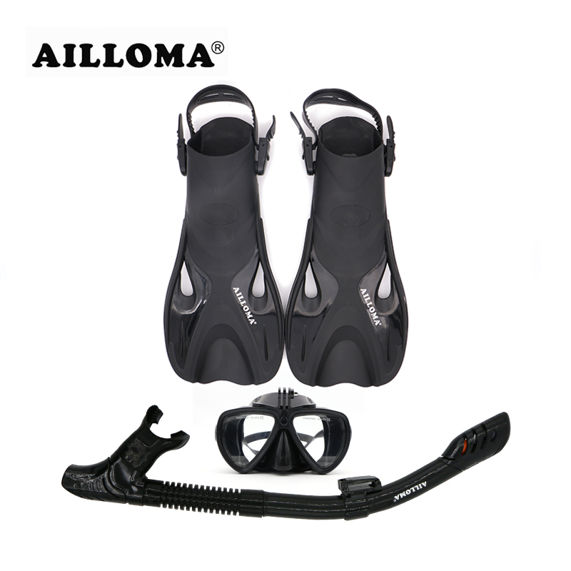 AILLOMA Adjustable Buckle Camera Diving Mask Snorkel Set Full Dry Tube Scuba Snorkeling Anti-Fog Goggles Diver equipment Fins anti fog full face snorkeling mask diving snorkel 180 degree vision for gopro free breathing dive gear tube swimming diving mask