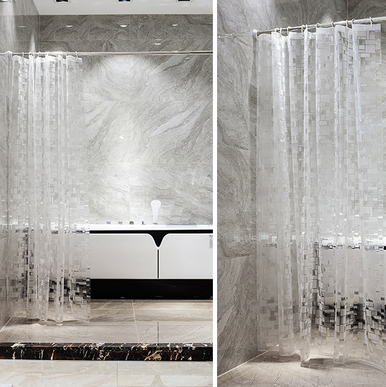 Image 5 - EVA Square Shower Curtain For Transparent Thickened Shower Curtains 3D Bathroom Curtain Moldproof Waterproof Bathroom Supplies-in Shower Curtains from Home & Garden