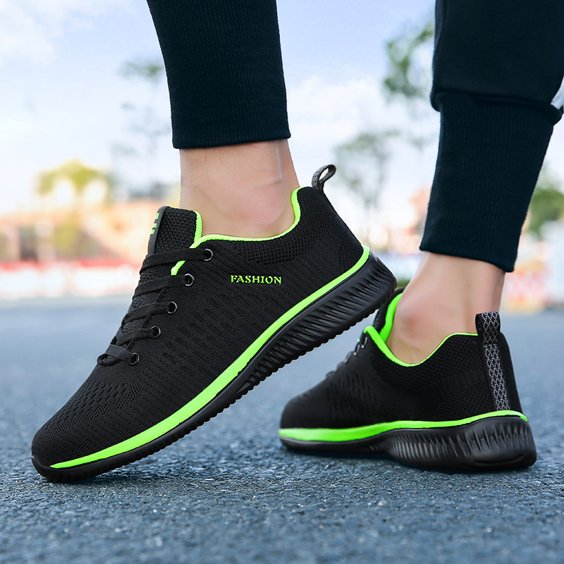 Exclusive New Mesh Men Casual Shoes Lac-up Men Shoes Lightweight Comfortable Breathable Walking Sneakers Tenis Feminino Zapatos,Green,42