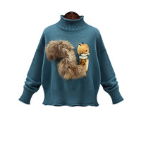 Ky&Q Winter Women Knitted Turtleneck Pullover Sweaters Womans Loose Cute Cartoon Squirrel Sweater Femme Tricot Pull Jumper Tops