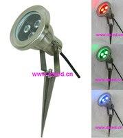 Aço inoxidável LEVOU holofotes com spike  DS-10-47-12W-RGBW  4em1  12 V DC 30 pcs + CONDUZIU a luz Do Gramado 3X1 W cor Branca 12 V DC 60 pcs